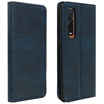 Protective Case Oppo Find X2 Pro Genuine Leather Cardholder Video Night Blue