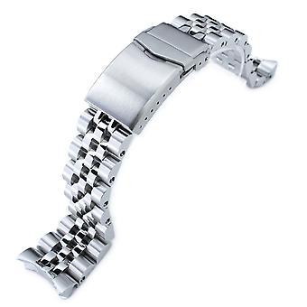 Pulseira do relógio strapcode 22mm angus-j louis 316l pulseira de relógio de aço inoxidável para seiko 5, v-clasp escovado