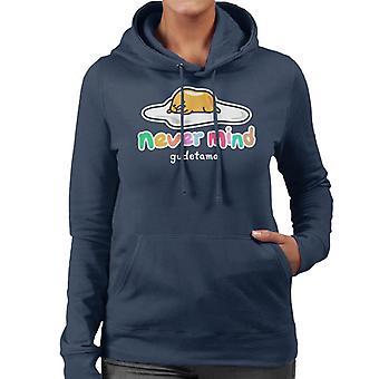 Gudetama Never Mind Kleurrijke Tekst Women's Hooded Sweatshirt