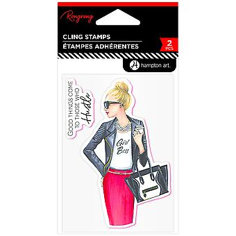 Hampton Art Girl Boss Rubber Stamps