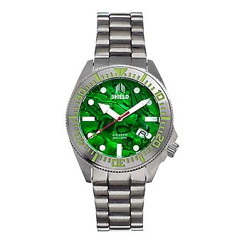 Shield Atlantis Abalone Bracelet Watch w/Date - Green