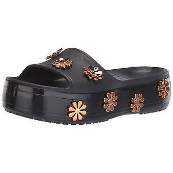Crocs Women's Crocband Platform Metallic Blooms Slide Sandal