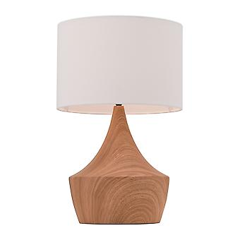 "11.8"" x 11.8"" x 18.7"" White and Brown  Polyblend  Steel  Table Lamp"