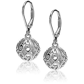 Sterling Silver Filigree Ball Leverback Dangle Orecchini, Bianco, Taglia No Size