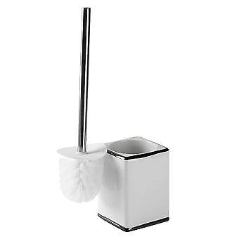 Toilet Brush and Holder Set - Classic Modern Bathroom Cleaning Accessories - Ceramic - White