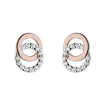 Dew Silver Double Cubic Zirconia Circle 14ct Rose Gold Plate Earrings 3820RCZ024