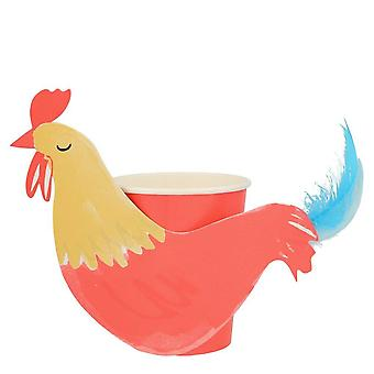 Meri Meri Rooster Farm Animal Paper Party Cups Decorations x 8