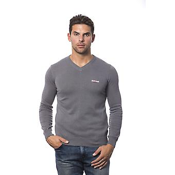 Roberto Cavalli Sport Grey Grigio V-Neck Long Sleeve Sweater