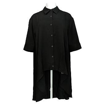 DG2 di Diane Gilman Women's Top Black Duster Tunic Elbow Sleeve 729-011