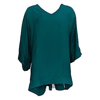 DG2 di Diane Gilman Women's Plus Top Green Tunic Polyester V-Neck 727-411