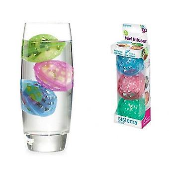 Sistema to Go Fruit Mini Infusers - Plast, Flerfärg, Paket med 3 - BPA Free