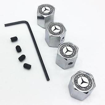 Мерседес Белый набор из 4 Chrome Анти-Theft Car Tyre Воздух Пыль Valve Stem Cap с Аллен ключ