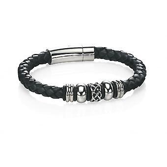 Fred Bennett Stainless Steel & Black Leather Celtic Bead Bracelet