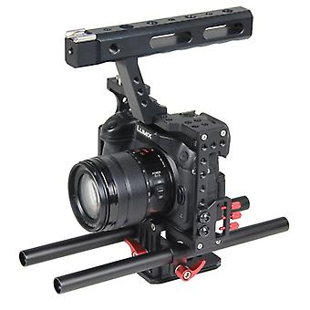 YELANGU YLG0904A-B Handle Video Camera Cage Stabilizer for Panasonic Lumix DMC-GH4 / Sony A7 & A7S & A7R & A7RII & A7SII(Red)