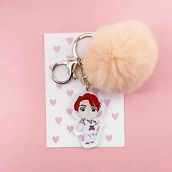 Kpop Bangtan Kawaii Plush Pendant, Cute Cartoon Plushball Key Chain