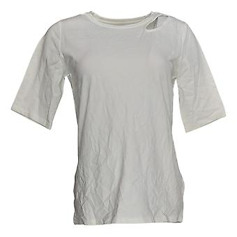 G.I.L.I. tem-se love it Women's Top Knit Top w/Cut-out Detalhe Branco A368153