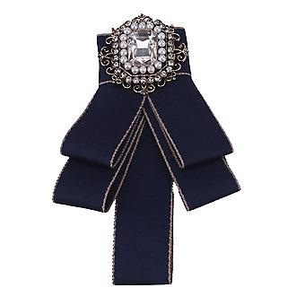 1 Pc Bow Broche Pin met Diamond for Girls Afstudeerceremonie bruiloft (Blauw)