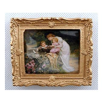 Melody Jane Dolls House Time With Mother Painting Gold Frame Miniature Accessory