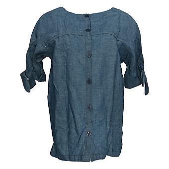 Martha Stewart Women'top elbow sleeve blouse W/ Tie Detail Blue A309323