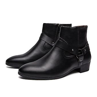 Spring, Autumn Pointed Toe, Ankle High-top, Casual Pu Leather Boots