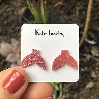 Light Pink Sparkly Mermaid Tail Acrylic Earrings
