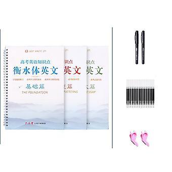 3 Pcs English Italic Groove Practice Set-reusable Handwriting Book