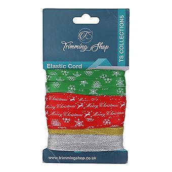 Christmas Ribbons Printed Xmas Tree, Snowflakes, Merry Christmas Option 6