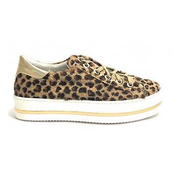 Women's Sneaker Life Leather Leopard Print Beige Ds19li07