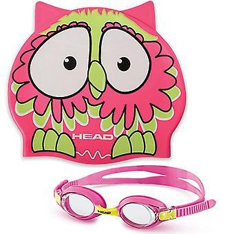 Head Meteor Junior Character Goggle & Swim Cap Set- pink owl
