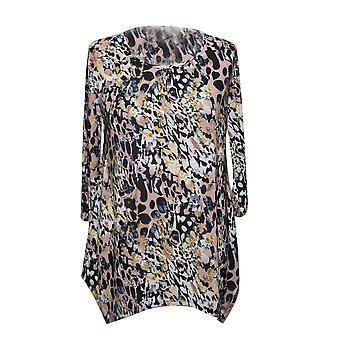 Ladies Super Soft Longline Black and Multi Colour Printed Top