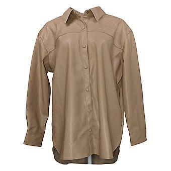 Isaac Mizrahi Live! Women's Jacket Faux Leather Big Shirt Brown A389386