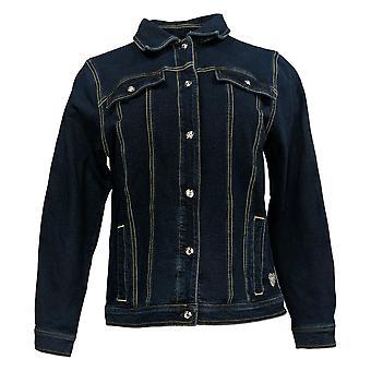 Quacker Factory Women's Jacket Button Front Denim Blue A346639