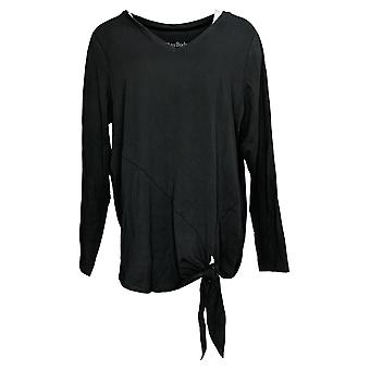 Anybody Women's Top Long Sleeve Side Tie Black A372098