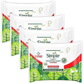 4 paquete de defensa simple tipo + toallitas limpiadoras antibacterianas 20pc