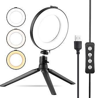 6 Pouces USB Ring Light Selfie Beauty LED Light 3 Modes d'éclairage Dimmable