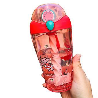 Zomer Cartoon Water Cup 460ml Roerbare Water Cup Met Rietjes Kinderen Volwassen Waterfles