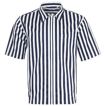 NN07 Idi Zip Sustainable Short Sleeve Shirt - Blue Stripe