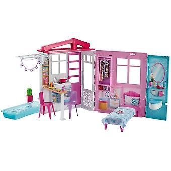 FengChun GLL69 - Ferienhaus mit Mbeln und Pool, tragbar Puppenhaus ca. 46 cm hoch mit Tragegriff,