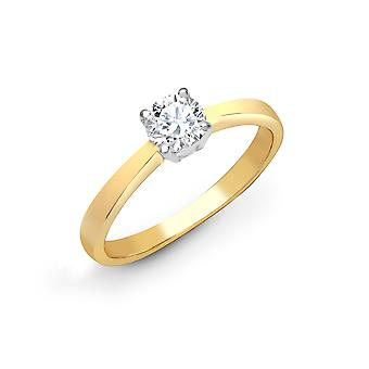 Jewelco London Ladies Solid 18ct Yellow Gold 4 Claw Set Round G SI1 0.25ct Diamond Solitaire Engagement Ring 4mm