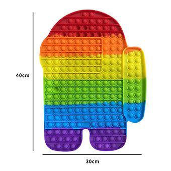 Ting sertifisert® XXL Pop It - 400mm Ekstra Stor Fidget Anti Stress Leketøy Boble Leketøy Silikon Mannlig Regnbue