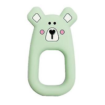 Green silicone mouse shape teether for toddlers, baby molar stick toy az6937