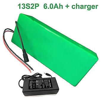 Battery With Charger 6ah 48v Li-ion 18650 Rechargeable Electric Bicycle E-bike Ebike Accept Customization 13s2p 250 * 45 * 70mm