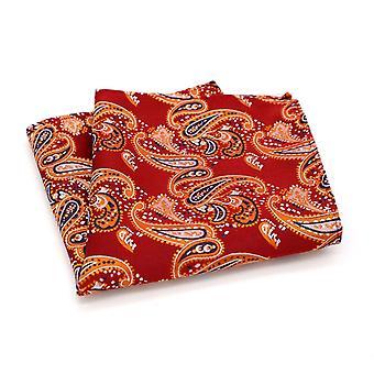 Mansikka punainen oranssi & sininen Paisley tasku neliö