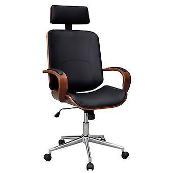 Büro Stuhl Schwenkgebogen Holz Kunstleder Polsterung und Kopfstütze
