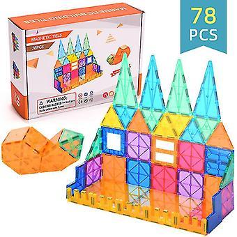 Barn magnetleksaker magnetiska plattor, magnetiska byggstenar pedagogiska leksaker (78 ST)