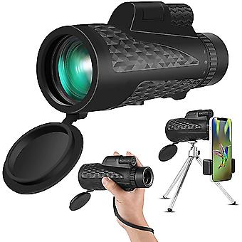 Monocular with 12x50 zoom and smartphone holder and tripod for adults and children, portable HD monocular rifle scope for bird watching, hunting, hiking, fishing boats,(black)