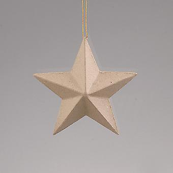 Papier Mache Star Christmas Bauble to Decor - 130mm | Papier Mâché