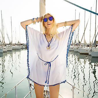 Biggdesign Pompom Beach Dress S-M, tissu 100% coton, élégance de plage, petit / moyen