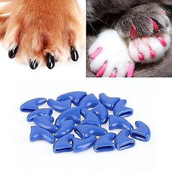 20 PCS Silicone Soft Cat Nail Caps / Cat Paw Claw / Pet Nail Protector/Cat Nail Cover, Size:S(Blue)