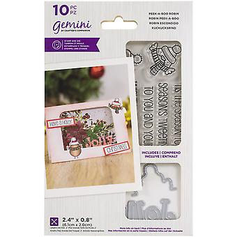 Crafter's Companion Gemini Clear Stamps & Dies - Peek-A-Boo Robin
